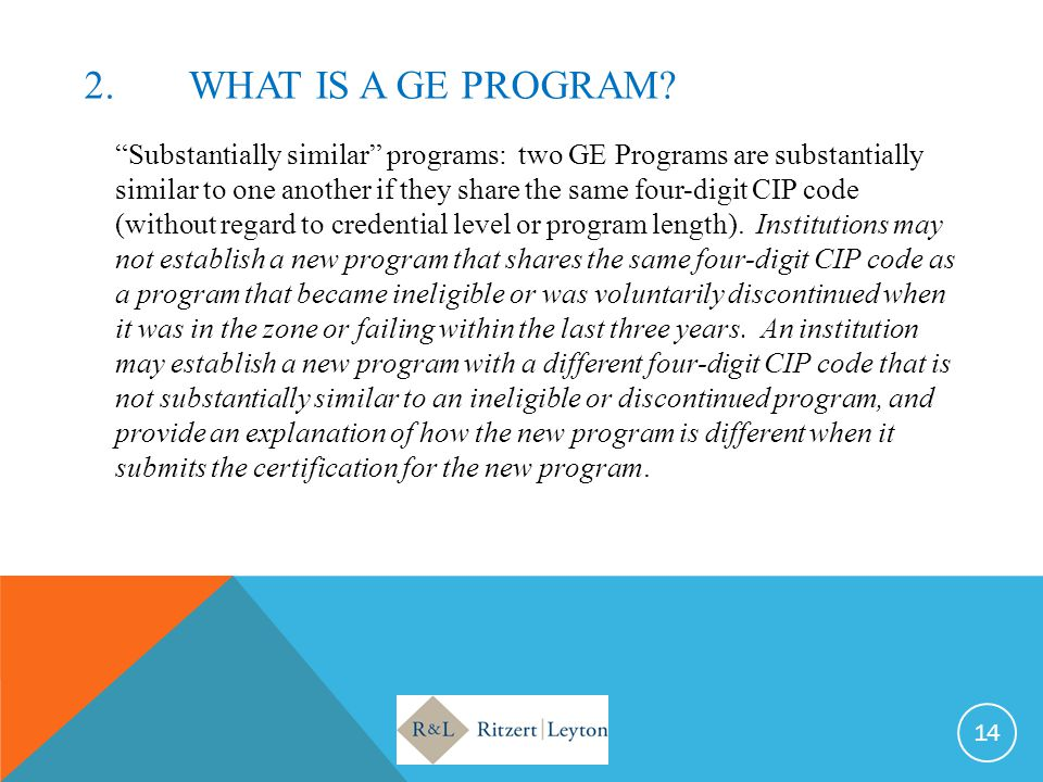 2. What IS A GE PROGRAM