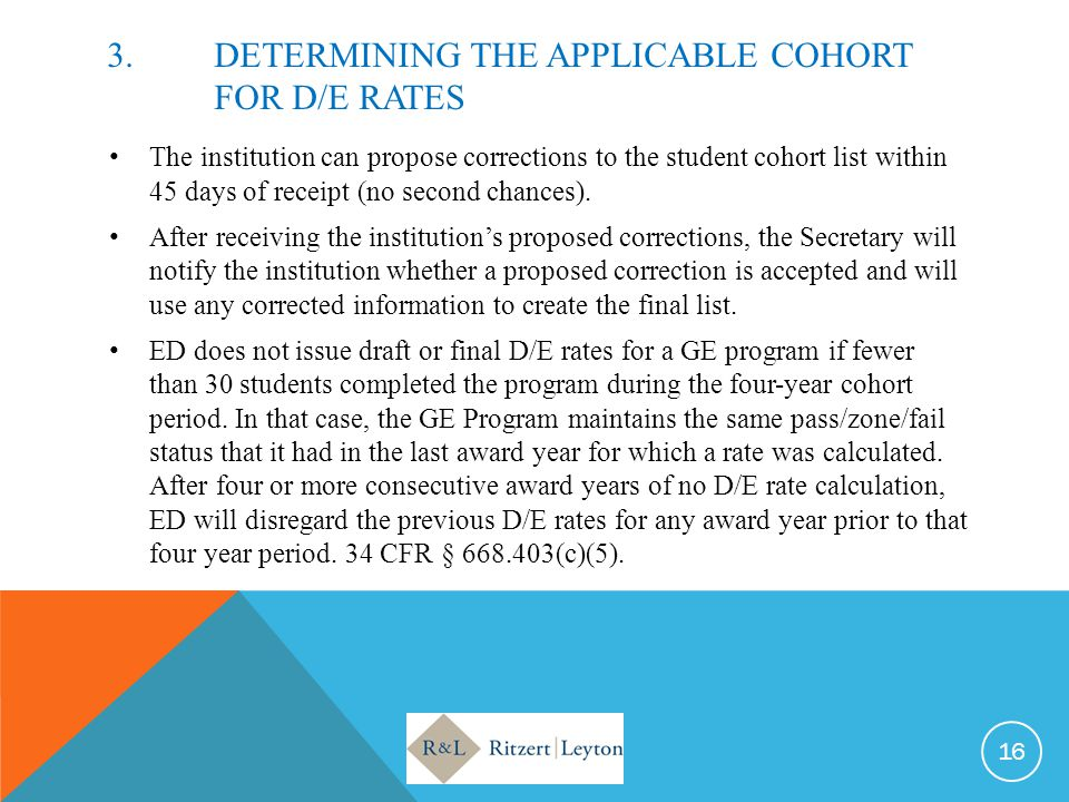 3. DETERMINING THE APPLICABLE COHORT FOR D/E RATES