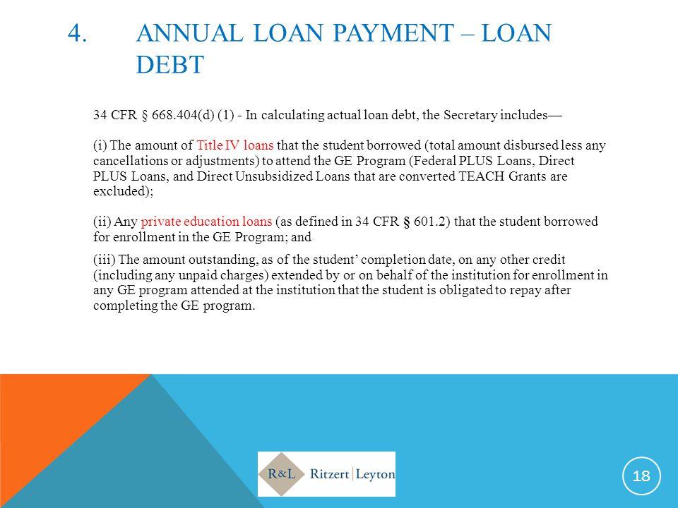 4. ANNUAL LOAN PAYMENT – LOAN DEBT