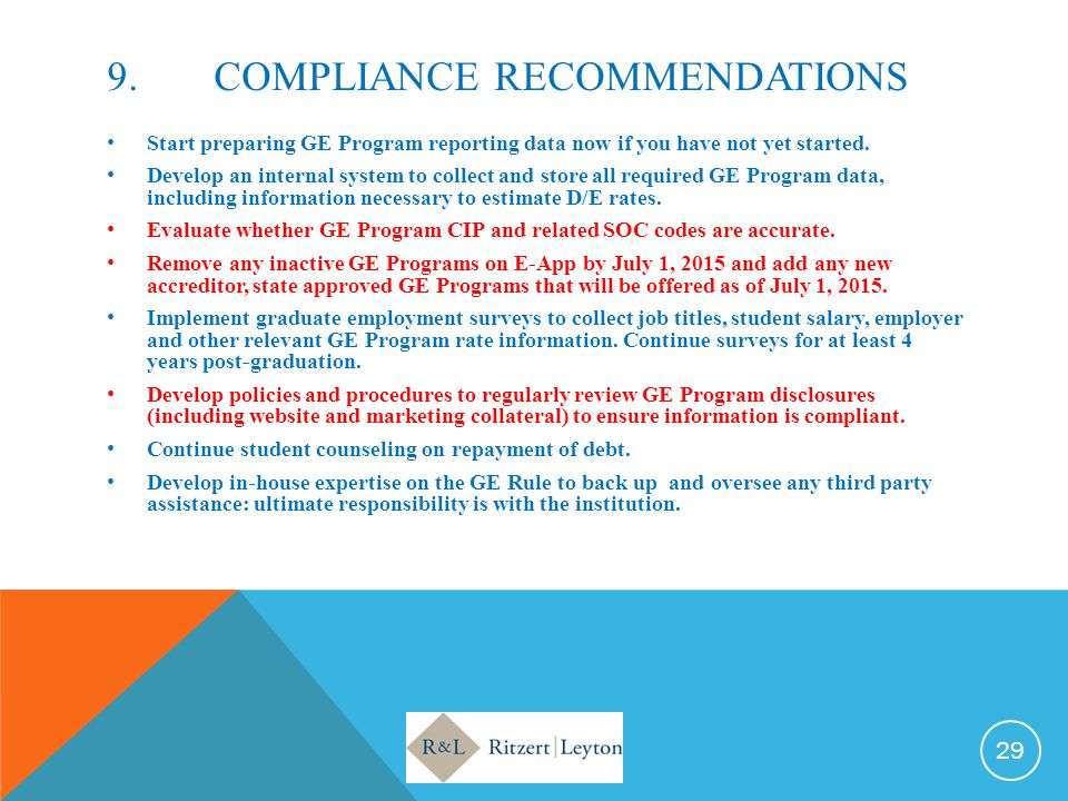 9. COMPLIANCE RECOMMENDATIONS