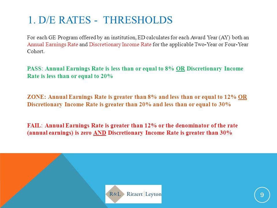 1. D/E RATEs - THRESHOLDS