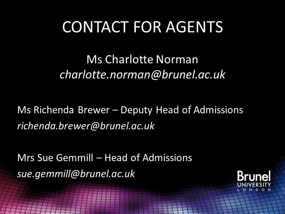 Ms Charlotte Norman charlotte.norman@brunel.ac.uk