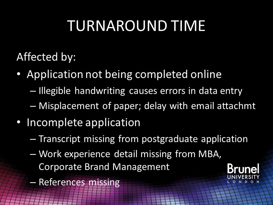 TURNAROUND TIME Affected by: Application not being completed online