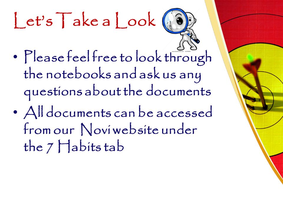 Let's Take a Look Please feel free to look through the notebooks and ask us any questions about the documents.