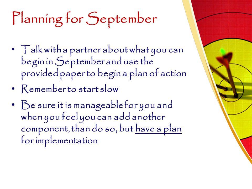 Planning for September
