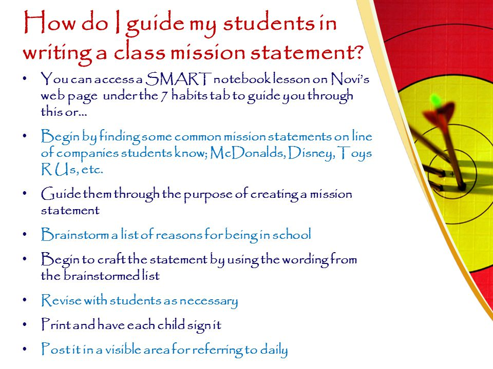 How do I guide my students in writing a class mission statement