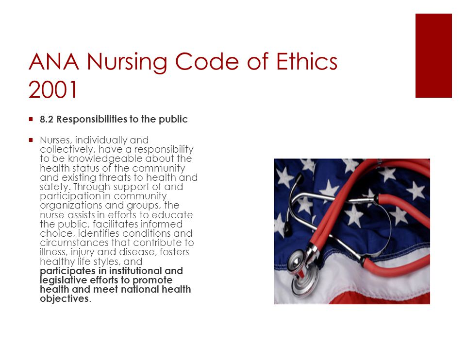 ANA Nursing Code of Ethics 2001