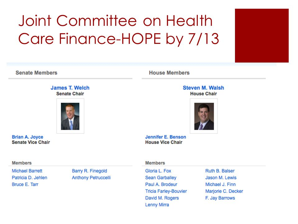 Joint Committee on Health Care Finance-HOPE by 7/13