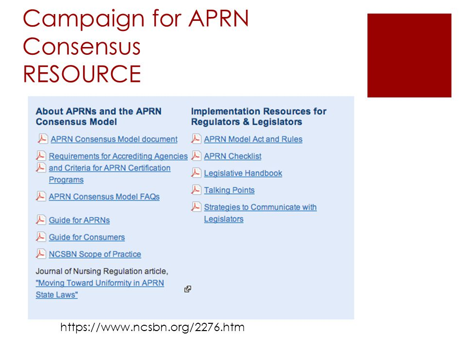 Campaign for APRN Consensus RESOURCE
