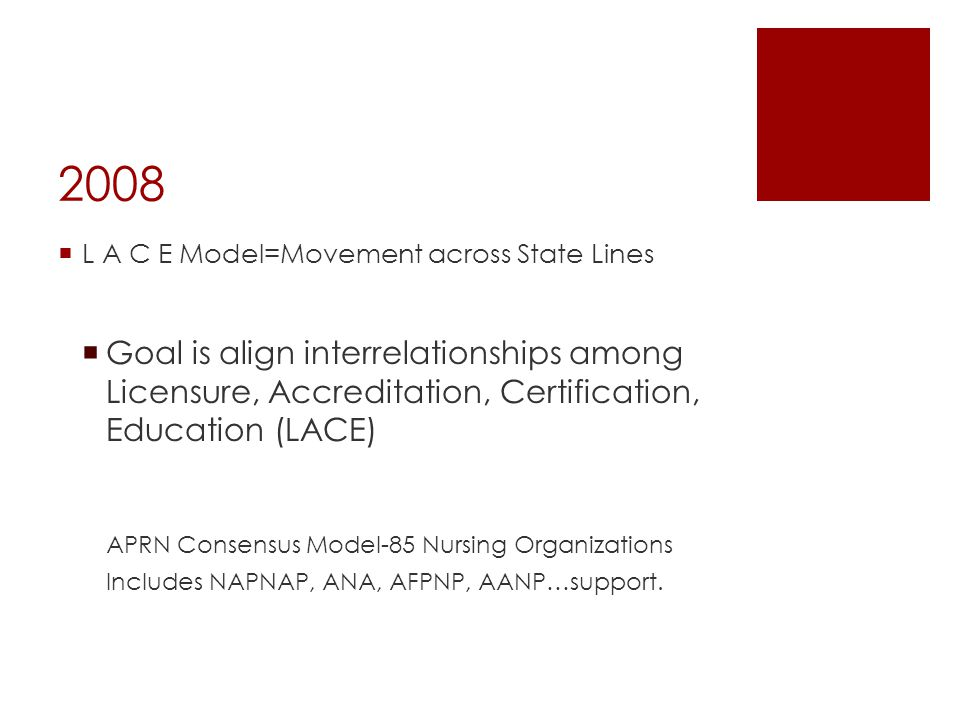 2008 L A C E Model=Movement across State Lines. Goal is align interrelationships among Licensure, Accreditation, Certification, Education (LACE)