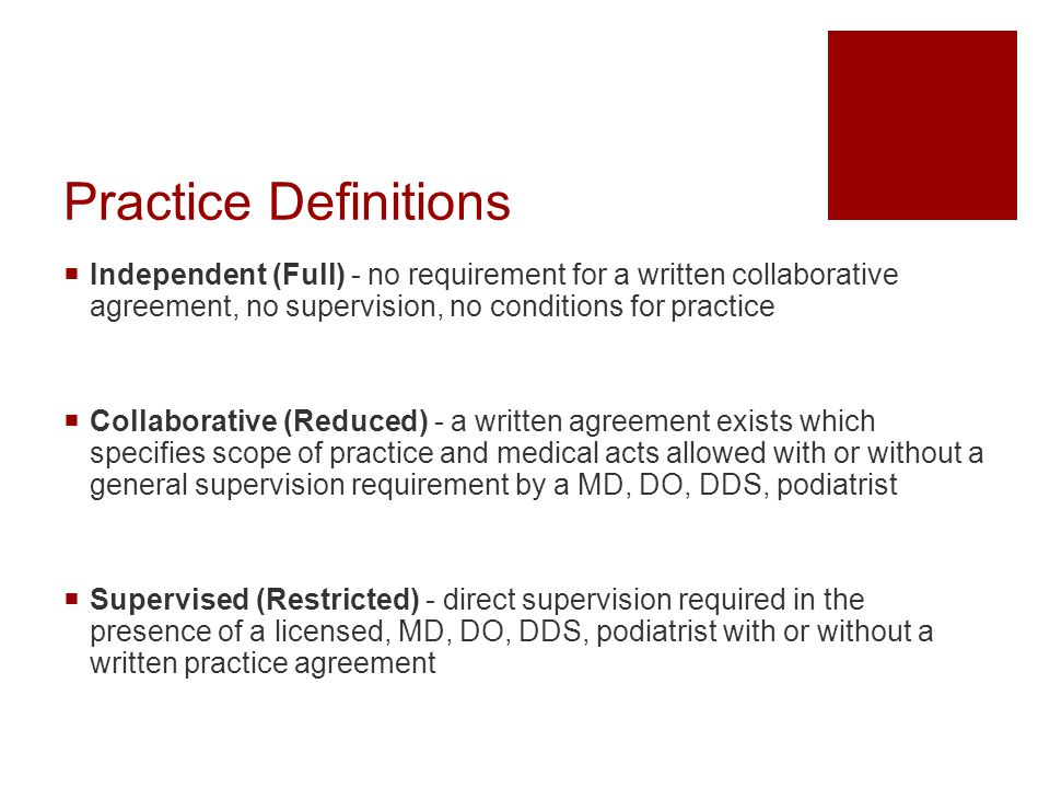 Practice Definitions Independent (Full) - no requirement for a written collaborative agreement, no supervision, no conditions for practice.
