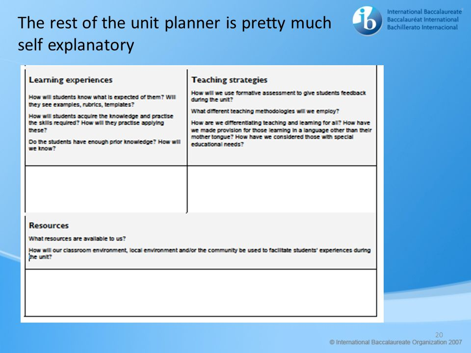 The rest of the unit planner is pretty much self explanatory