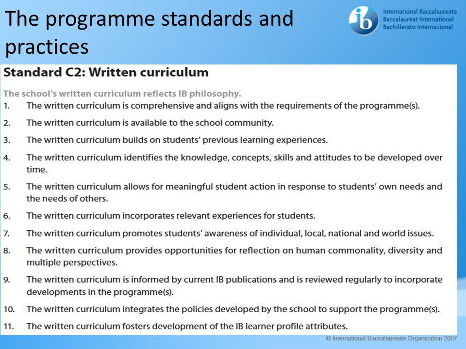 The programme standards and practices