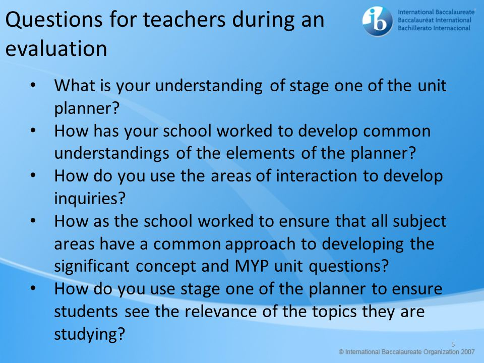 Questions for teachers during an evaluation