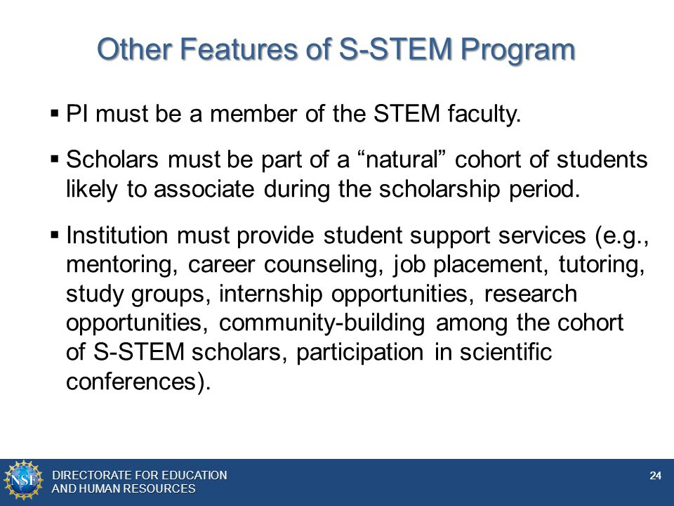 Other Features of S-STEM Program