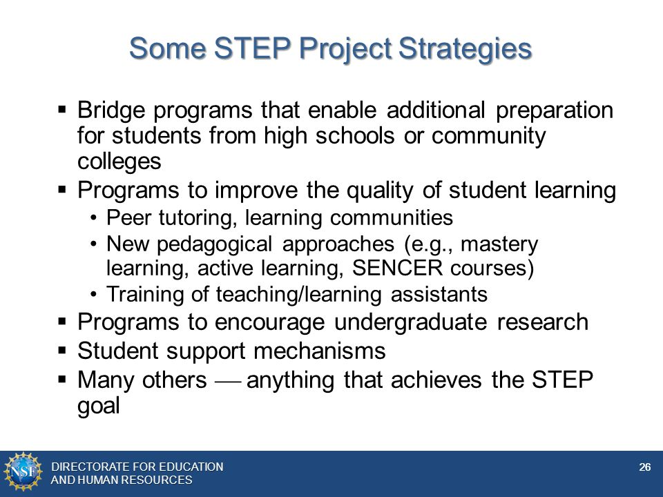 Some STEP Project Strategies