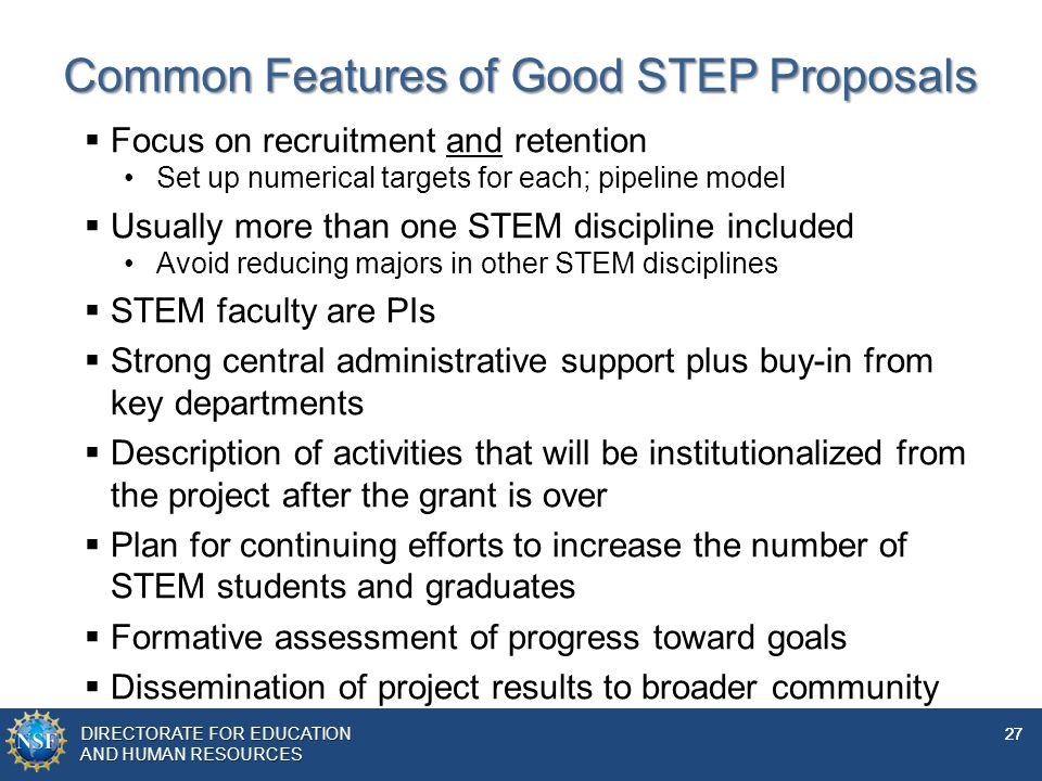 Common Features of Good STEP Proposals