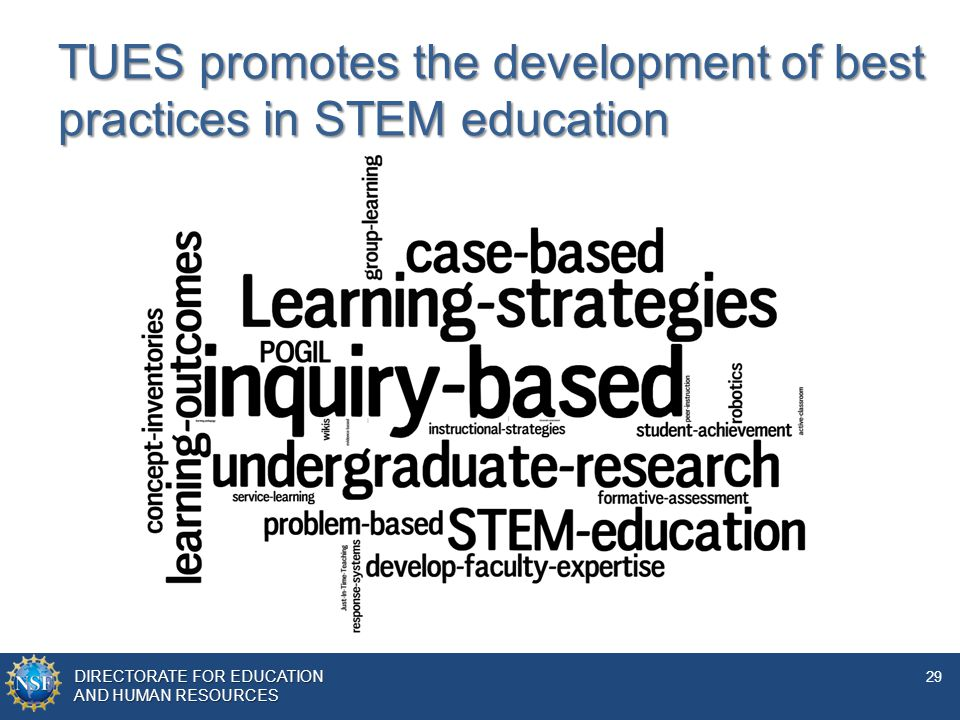 TUES promotes the development of best practices in STEM education
