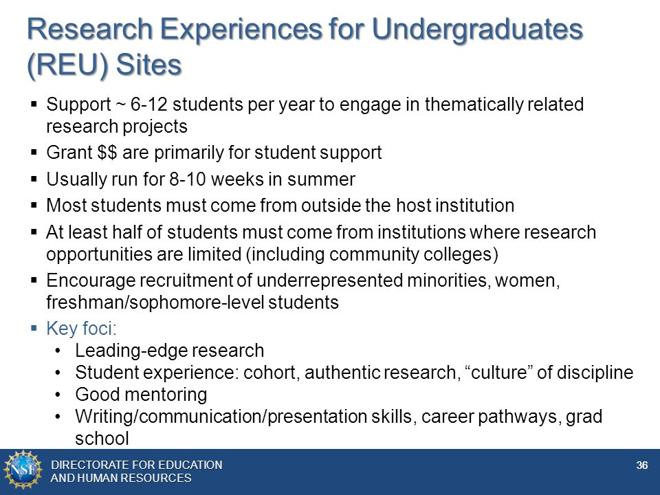Research Experiences for Undergraduates (REU) Sites