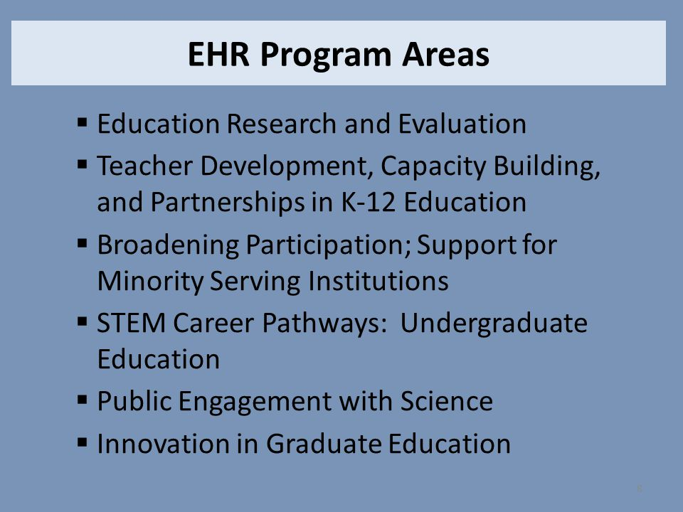 EHR Program Areas Education Research and Evaluation