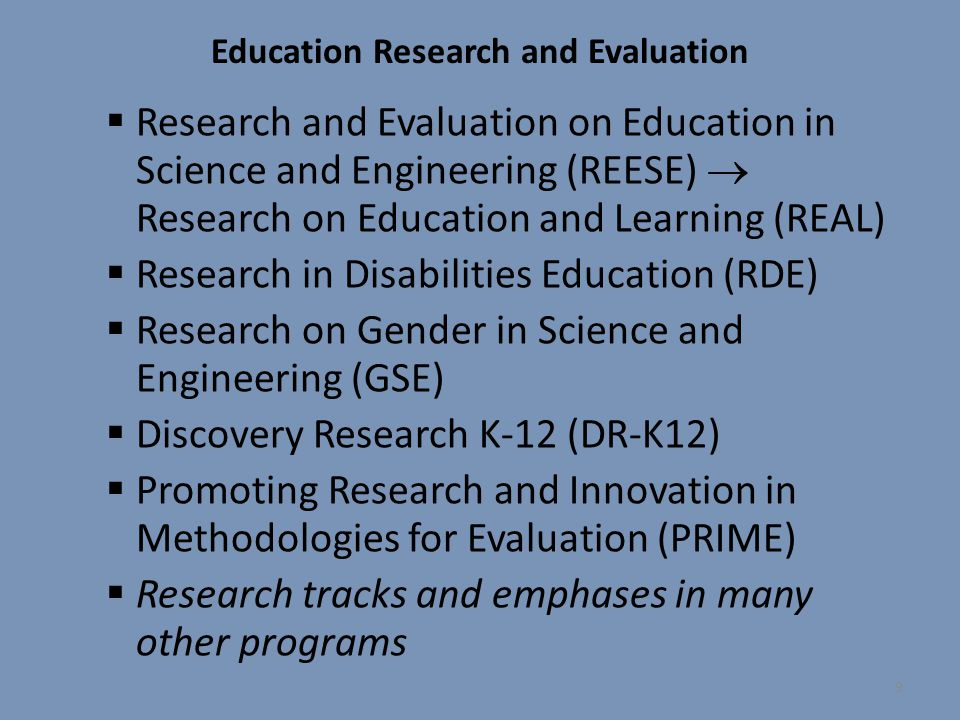 Education Research and Evaluation