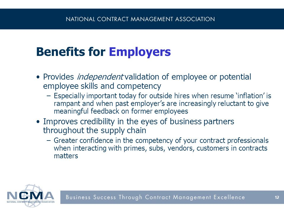 Benefits of NCMA Certification for Employers - continued