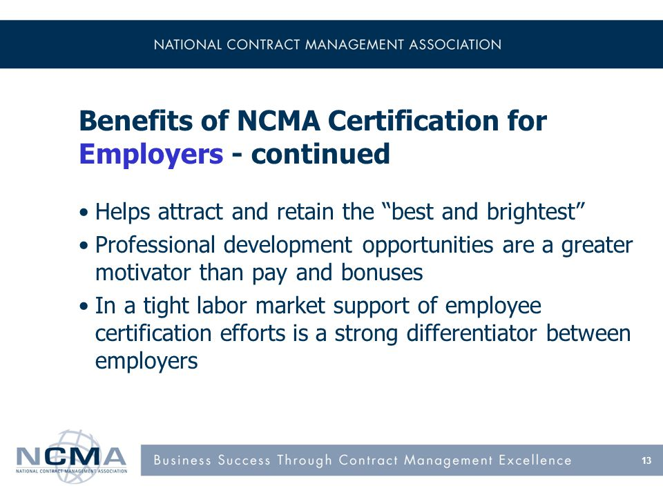 Benefits of NCMA Certification for Employees