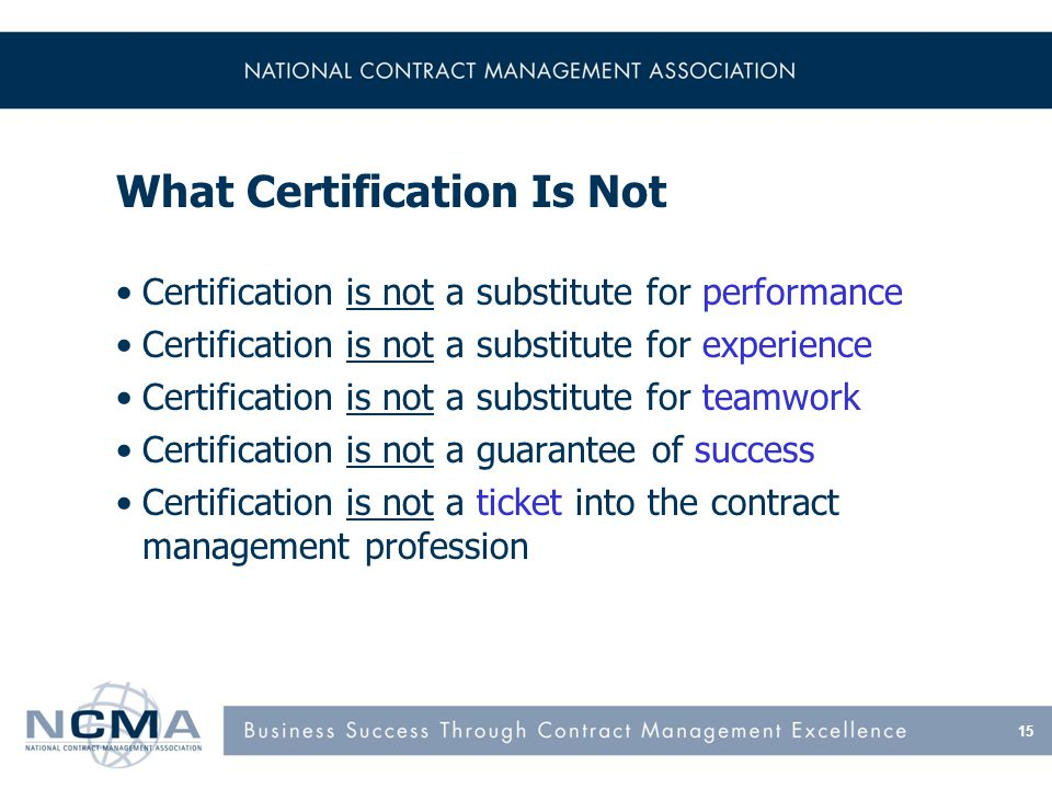 What Certification Is NCMA Certification
