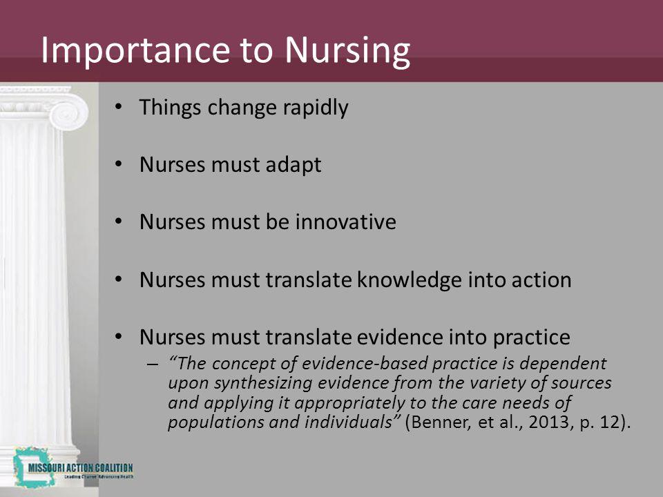 Importance to Nursing Things change rapidly Nurses must adapt