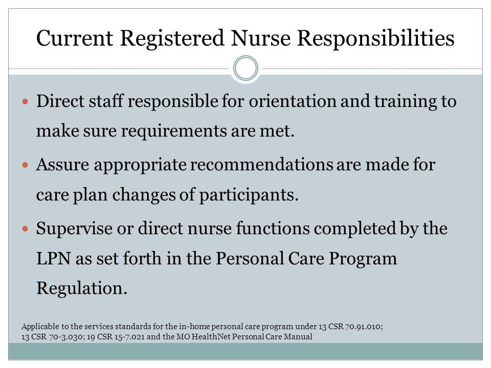Current Registered Nurse Responsibilities