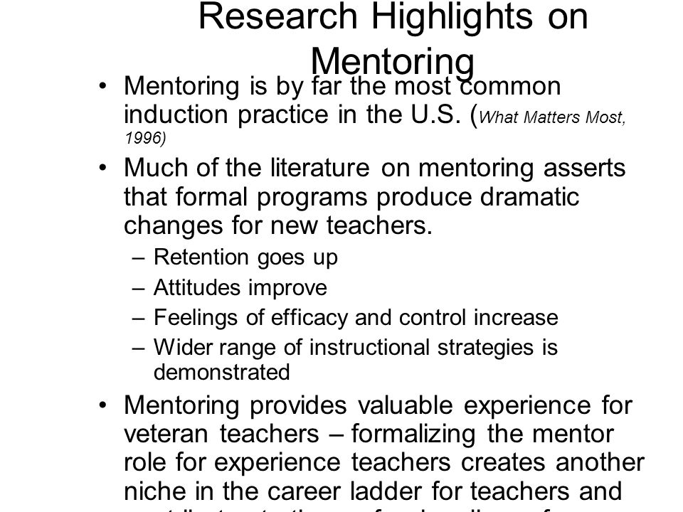 Research Highlights on Mentoring