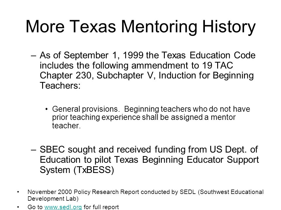More Texas Mentoring History