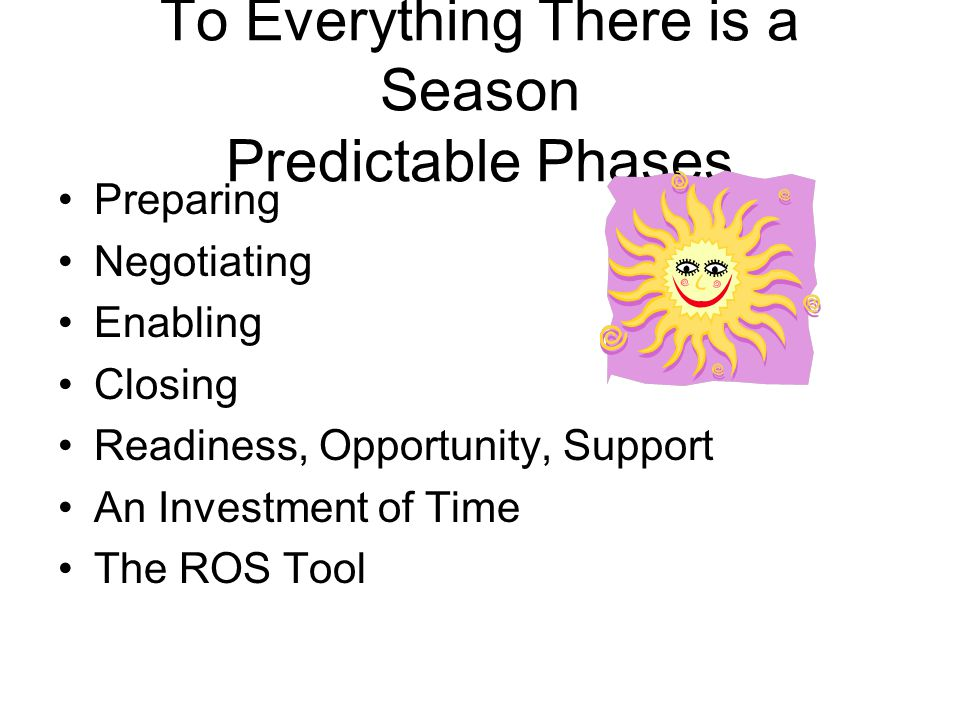 To Everything There is a Season Predictable Phases