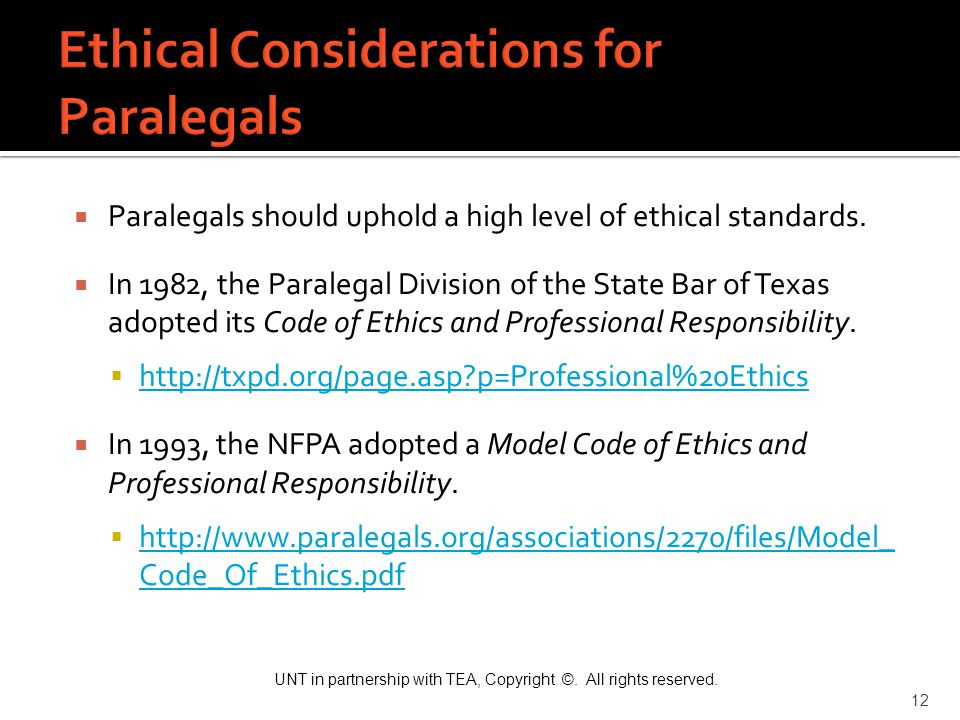 Ethical Considerations for Paralegals