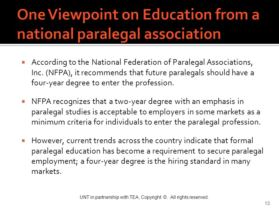 One Viewpoint on Education from a national paralegal association