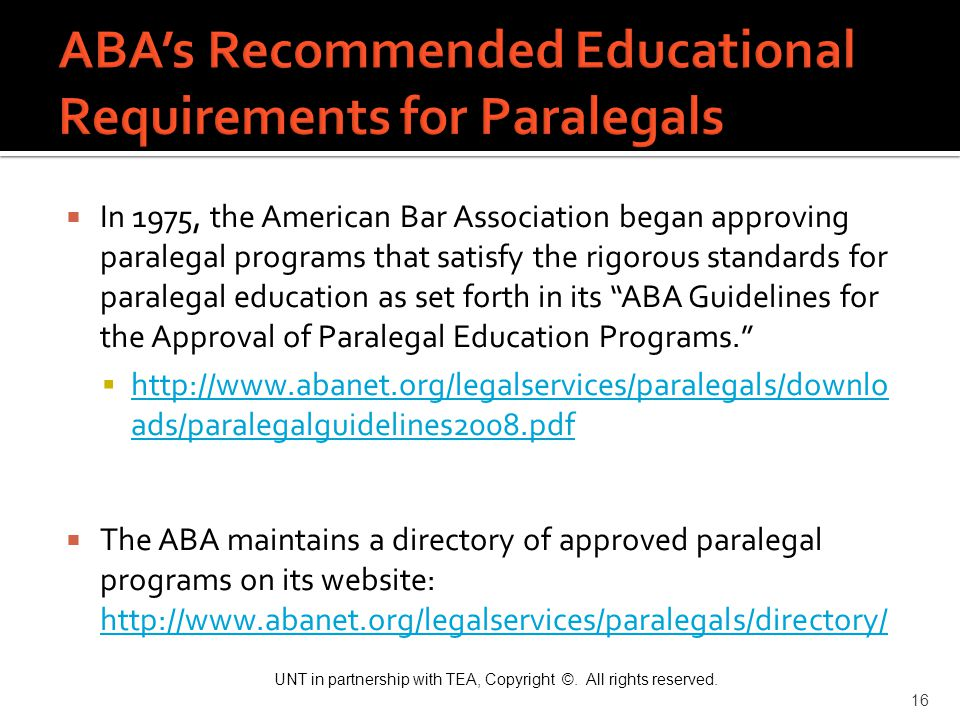 ABA's Recommended Educational Requirements for Paralegals