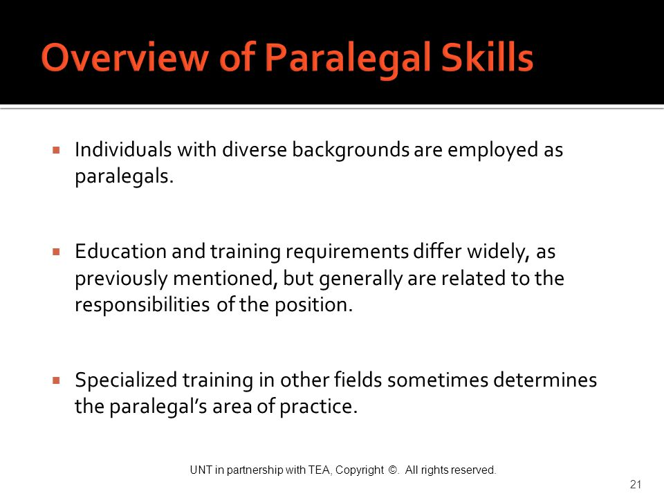 Overview of Paralegal Skills