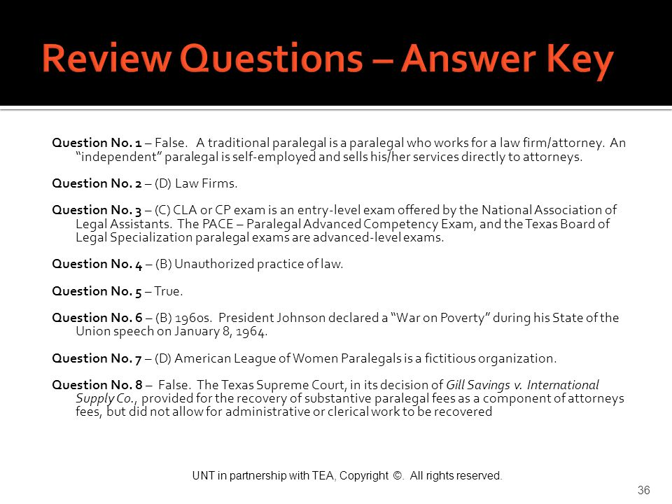 Review Questions – Answer Key