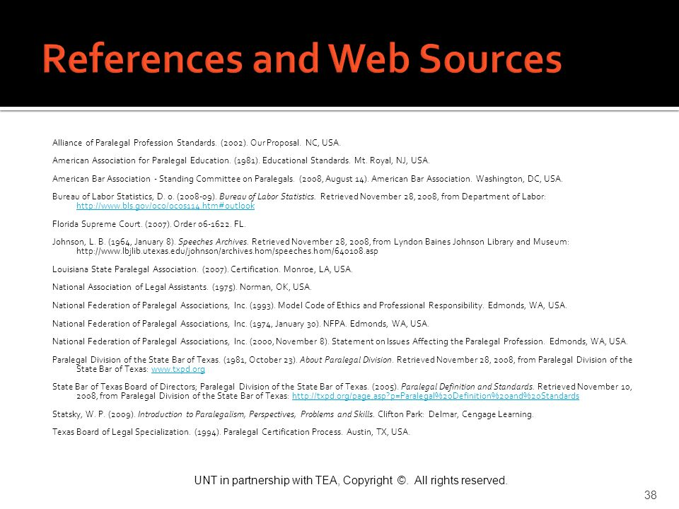 References and Web Sources