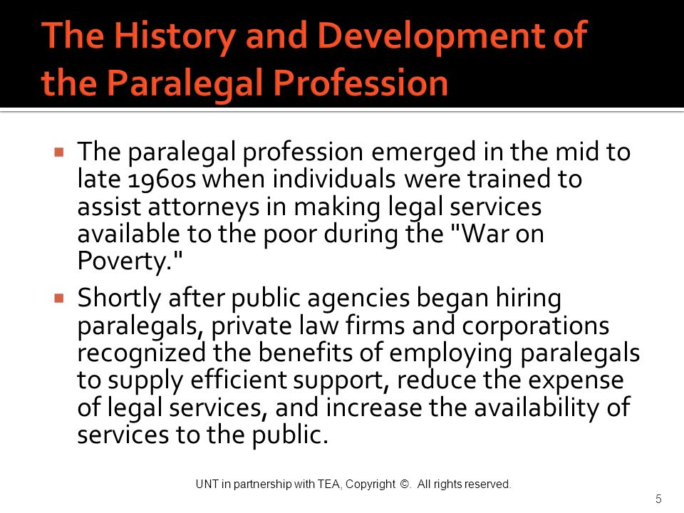 The History and Development of the Paralegal Profession