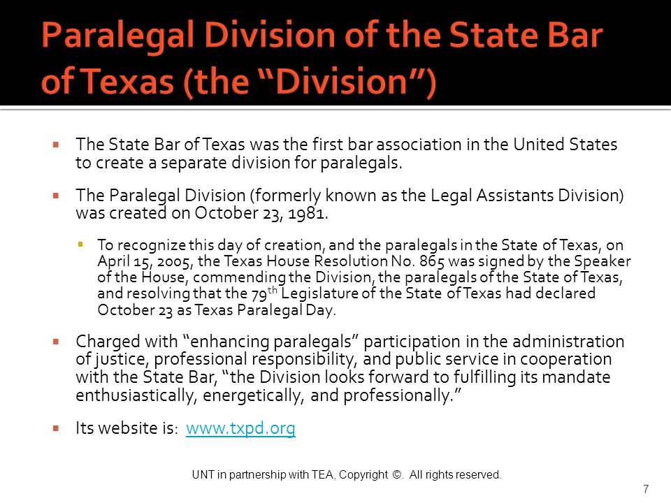 Paralegal Division of the State Bar of Texas (the Division )