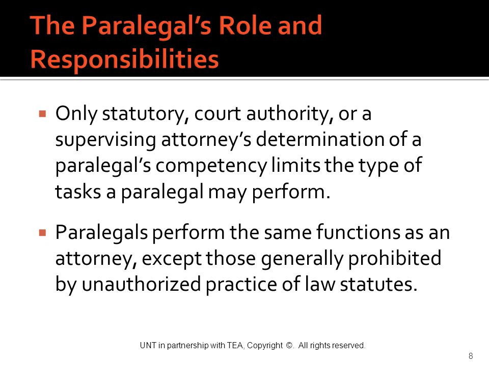 The Paralegal's Role and Responsibilities
