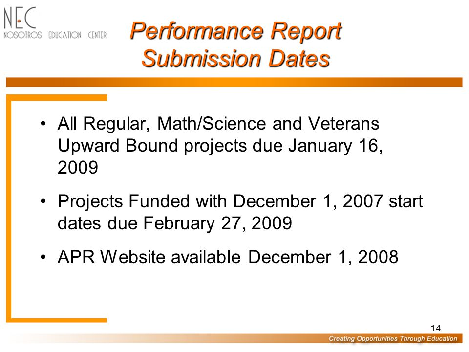 Performance Report Submission Dates