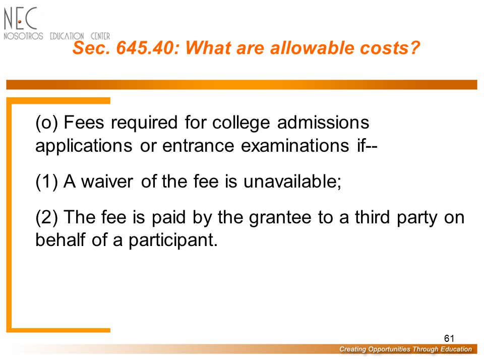 Sec. 645.40: What are allowable costs