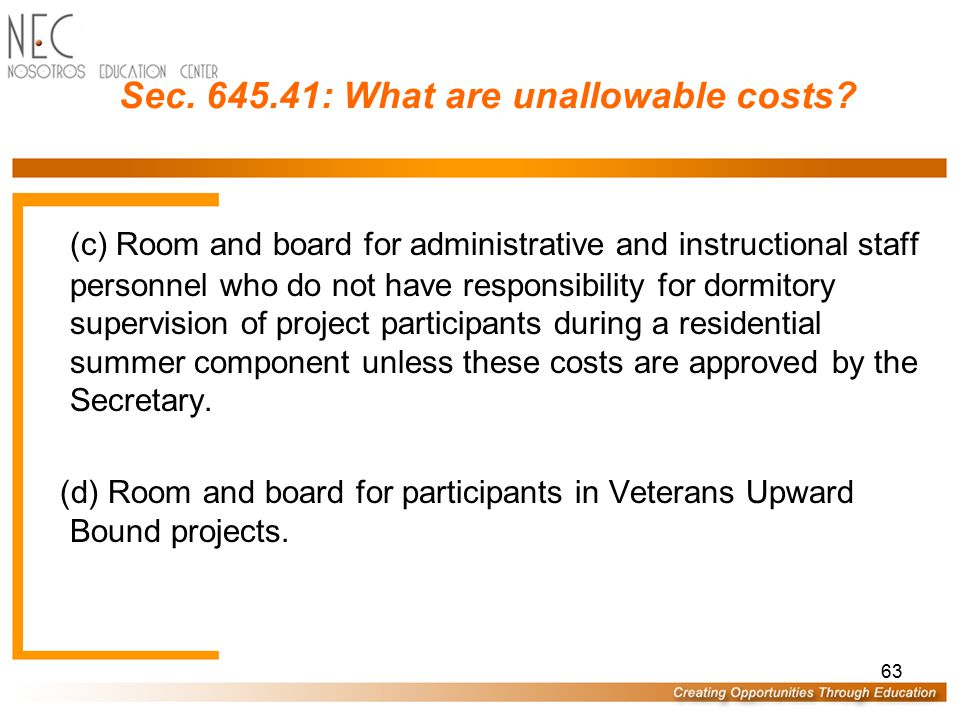 Sec. 645.41: What are unallowable costs
