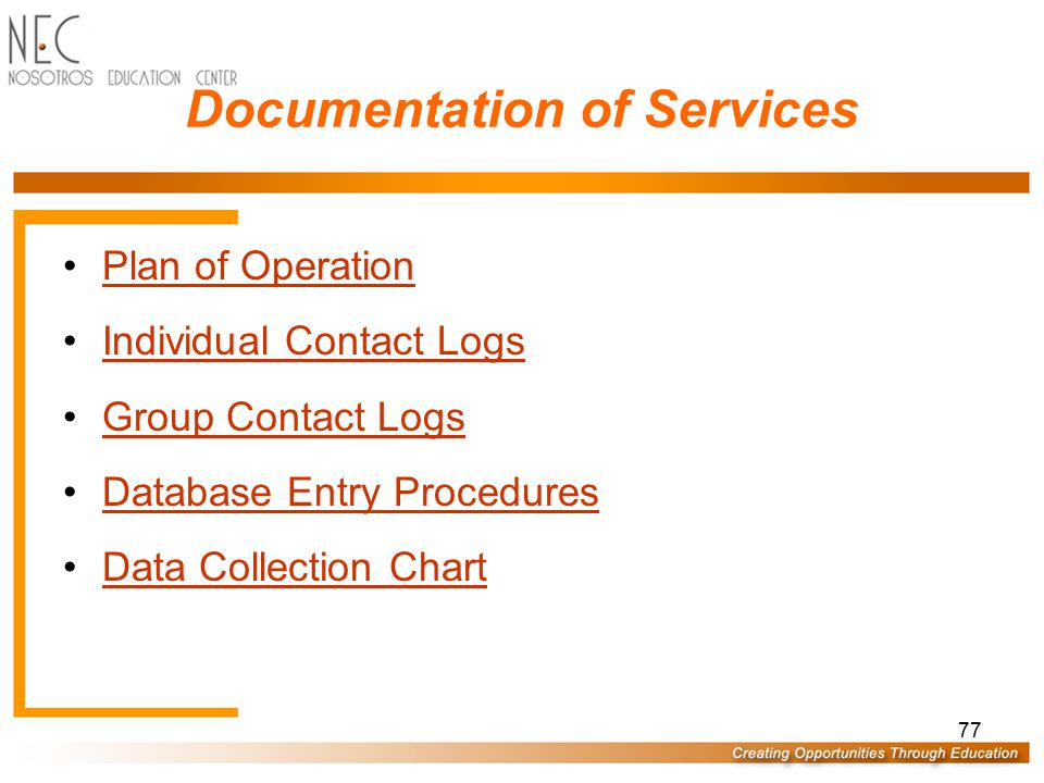 Documentation of Services