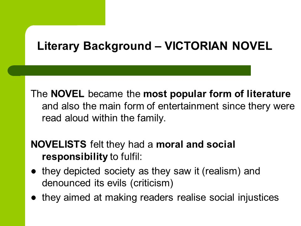 Literary Background – VICTORIAN NOVEL