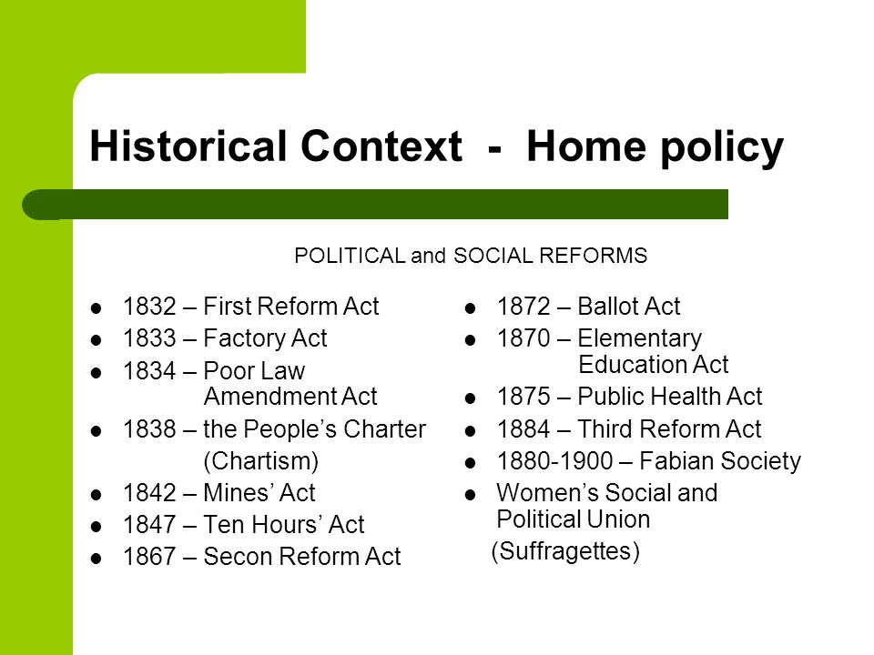 Historical Context - Home policy