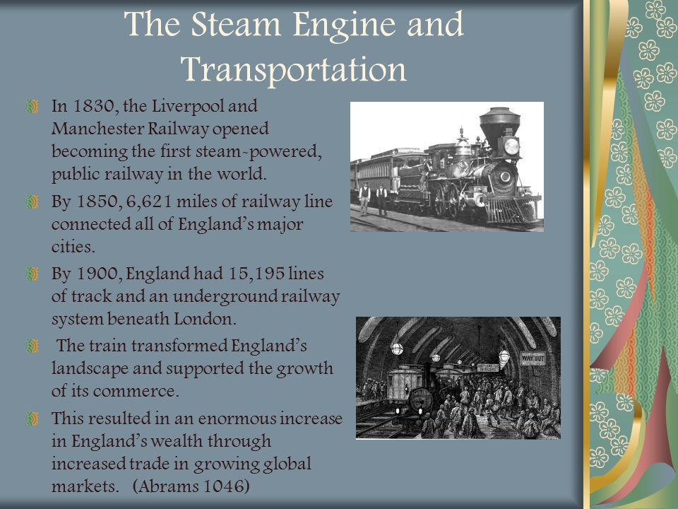 The Steam Engine and Transportation