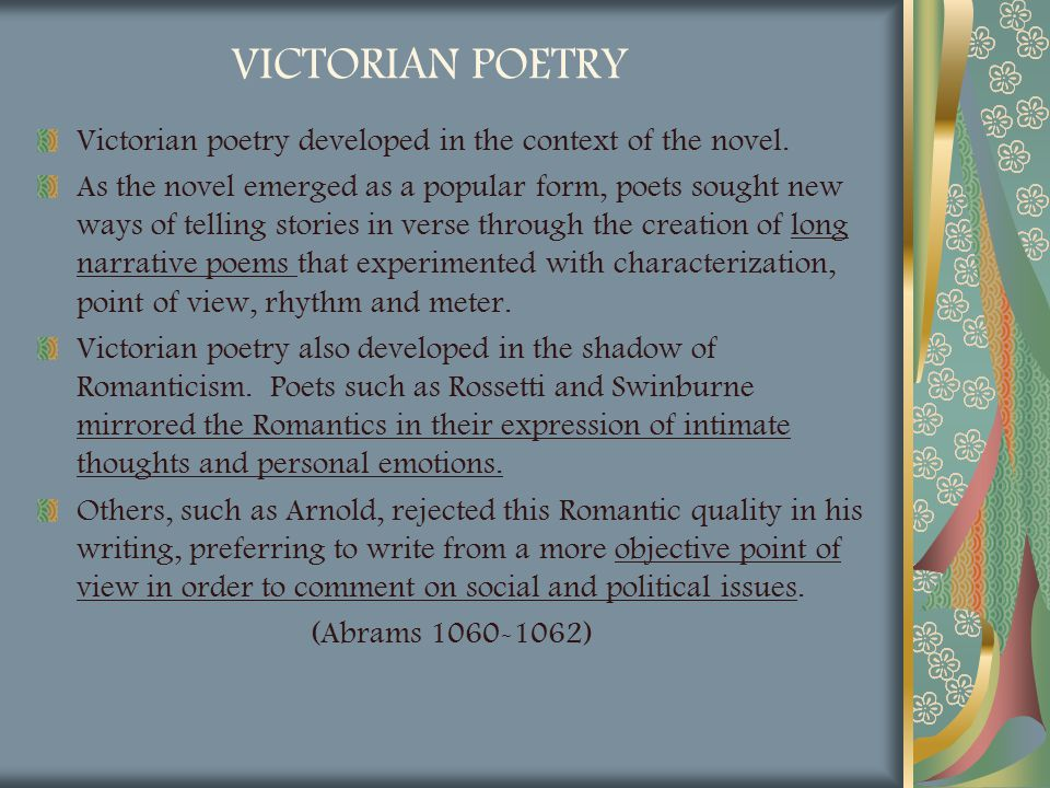 a look at the works of poets and writers in the victorian age Victorian literature nonfiction prose was the most important form in the victorian age, and it is what the writers of if you look at victorian poetry.